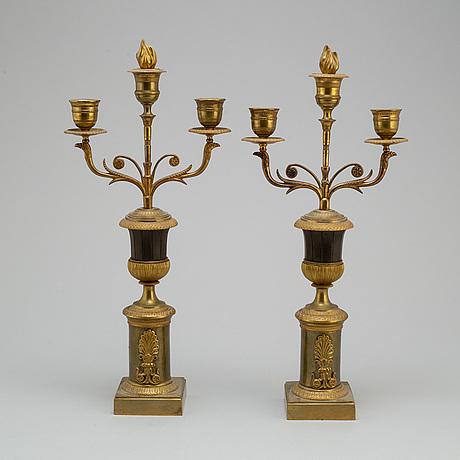 Kandelabrar ett par, empire, 1800 talets första hälft