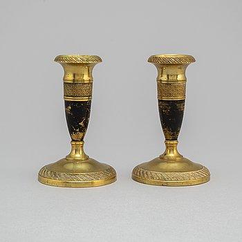 LJUSSTAKAR, ett par, Empire, 1800-talets första hälft.