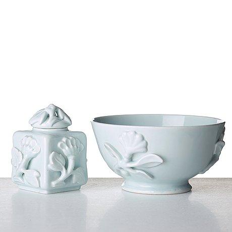 Wilhelm kåge, a ceramic bowl and a teacaddy, gustavsberg, sweden ca 1924.