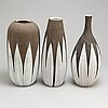 Three 'paprika' earthen ware vases by anna lisa thomson from upsala ekeby