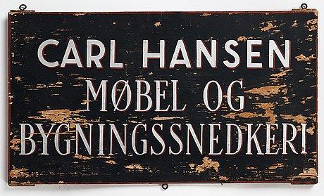 Carl hansen & søn, skylt, danmark, 1900-talets mitt.