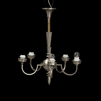 A 1920's Swedish Grace pewter ceiling lamp.