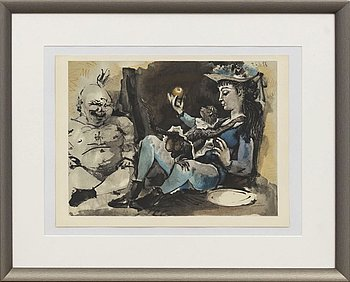 PABLO PICASSO, after, colour lithographe, unsigned,  Verve 29-30 1954, Mourlot Paris, dated in print.