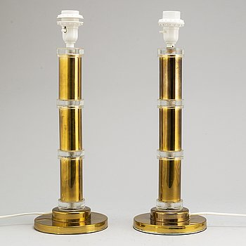 a pair of 1970's brass and glass table lamps.