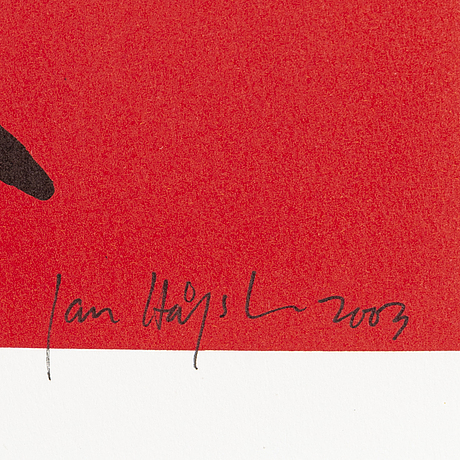 Jan hÅfstrÖm, litograph in color, signed, numbered 1446/2000, dated 2003.