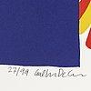 Carl johan de geer, silkscreen in color, signed and numbered 27/99.