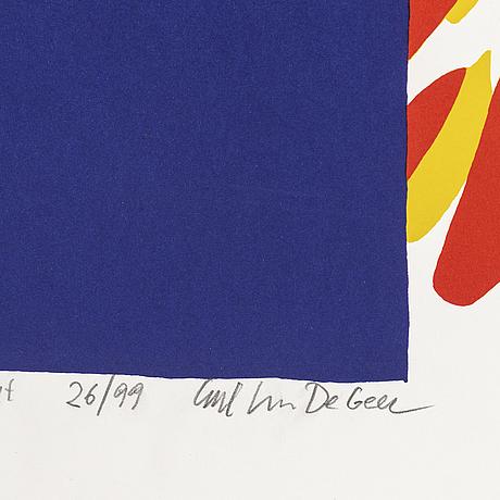 Carl johan de geer, färgserigrafi, signerad och numrerad 26/99.