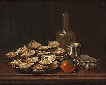 503. FRENCH SCHOOL 18TH CENTURY, Still life with oysters, plums and beaker in silver.