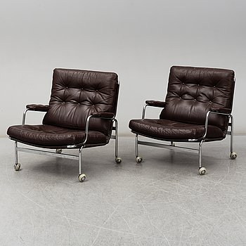 BRUNO MATHSSON, a pair of 'Karin' easy chairs, late 20th Century.
