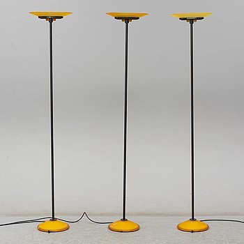 PERRY KING, SANTIAGO MIRANDA, GIANLUIGI ARNALDI, a set of three floor lamps, model Jill for Arteluce, Italy.
