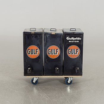 GULF - oil containers, 3 pcs à 55 liters, 1950's.