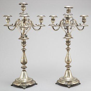 A pair of Swedish 19th century silver candelabra, mark of Gustaf Mollenborg Feron 1881.