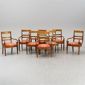 Eight Charles X armchairs, France, first half of the 19th century.