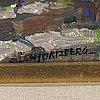 Olle hjortzberg, olja på pannå, signerad