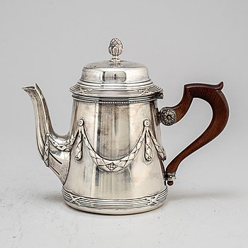 A French 20th century silver tea-pot, mark of George Fouquet Lapar.