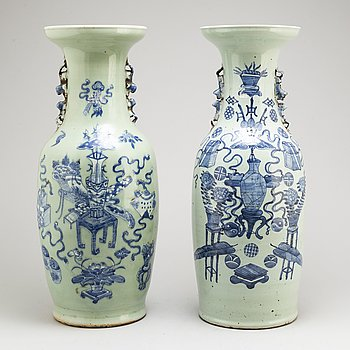 Two large blue and white celadon glazed vases, Qing dynasty, early 20th century.