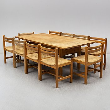 BØRGE MOGENSEN, a dinner table and 10 chairs, model Asserbo,   AB Karl Andersson & Söner.