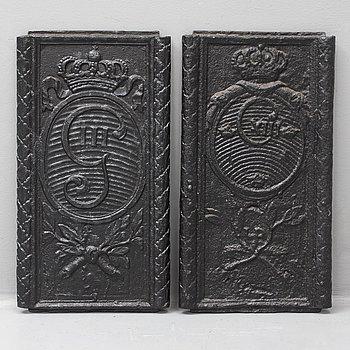 SÄTTUGNSPLATTOR, ett par, gjutjärn, sent 1700-tal till tidigt 1800-tal.