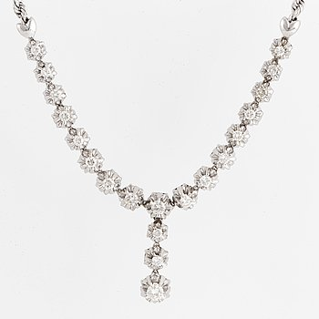 White gold and brilliant-cut diamond necklace.