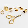 Ringar 3 st, manschettknappar, sax och fingerborg, 18k guld
