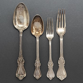 A Swedish 'Olga' silver cutlery, second half of the 19th/first half of the 20th century (48 pieces), 3332 gram.