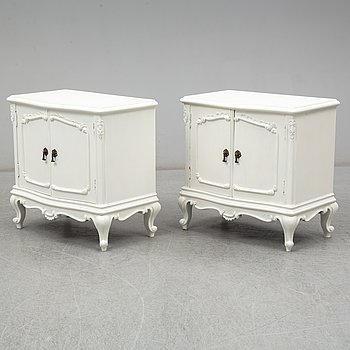 a pair of bedside tables from the 20th century.