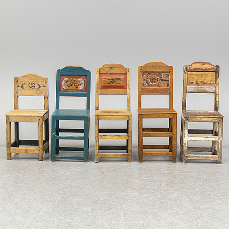 Five painted pine chairs from järvsö, first half of the 20th century.