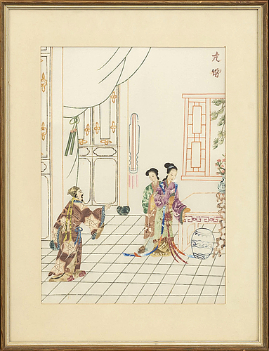 A chinese collage on silk, later 20th century.