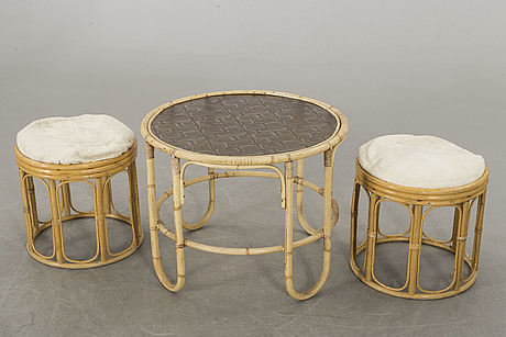A mid 20th century ratten and bamboo set of furniture, 5 pieces