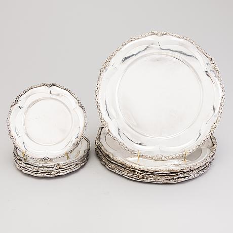 A set of 15 silver dishes, marked 0.925, platerias ecuatorianas