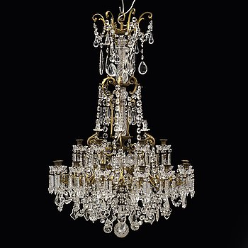 An 18-light chandlier, late 19th century.