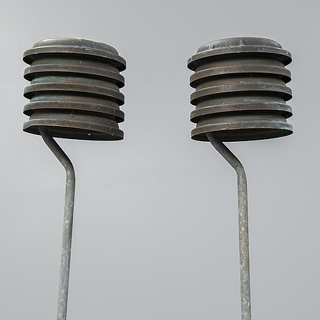A pair of copper outdoor lights, second half of the 20th century