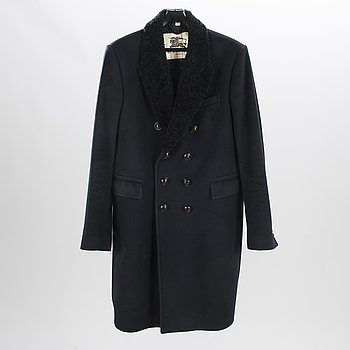 BURBERRY Mens Black Cashmere Overcoat in size 56.