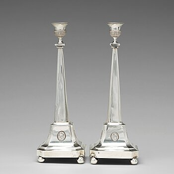 197. A pair of 18th century silver candlesticks, mark of Nils Tornberg 1797.