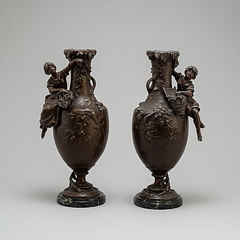 A pair of zinc and marble vases by Francois Moreau, France, ca 1900.