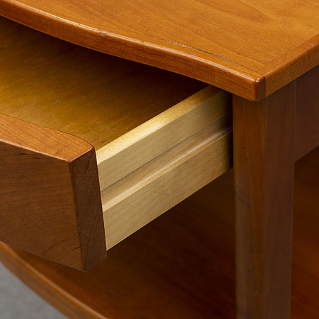 A carl malmsten head boards and bedside table, late 20th century.