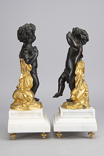 A pair of bronze sculptures after clodion, 20th century