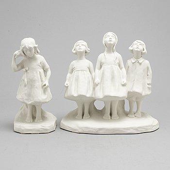ALICE NORDIN, two porcelain sculptures from Gustavsberg.