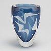 Vicke lindstrand, a glass vase, kosta, signed.