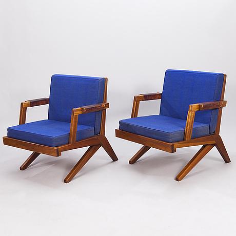 """Olavi hÄnninen, fåtöljer, ett par, """"bumerang"""", tillverkare hmn huonekalu mikko nupponen, lahtis, 1960-tal."""