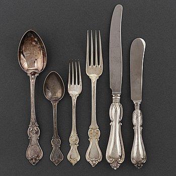 CG HALLBERG, a 'Olga' silver cutlery, Sweden, Stockholm, 1950s (53 pieces), 2632 gram.