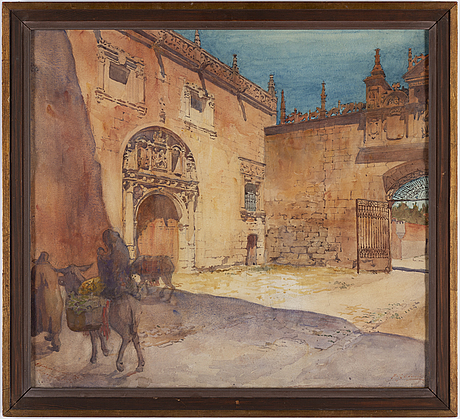 Unknown artist,  indistinctly signed and dated hospital del rey, burgos 1924.
