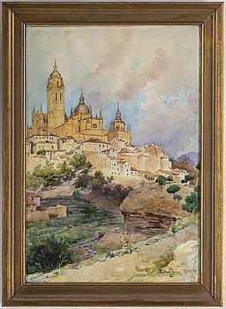ELLEN JOLIN, watercolour, signed Ellen Jolin and dated Segovia 26/9 1895.