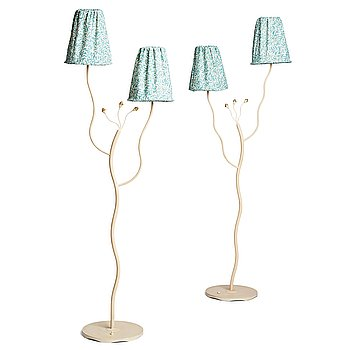 319. Swedish Modern, two lacquered metal floor lamps, 1940's-50's.