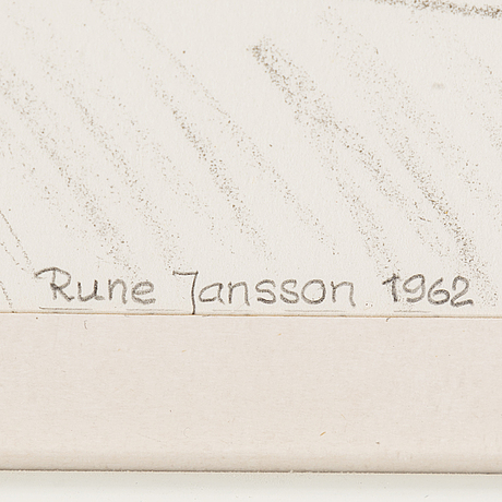 Rune jansson, a pastel, signed and dated 1962.