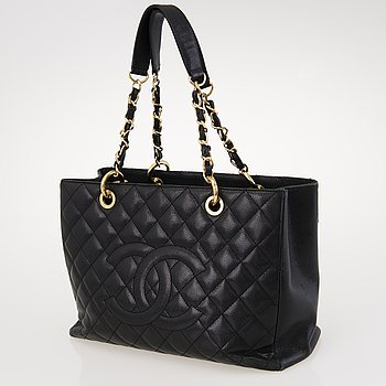 CHANEL Caviar Leather Grand Shopping Tote Bag.