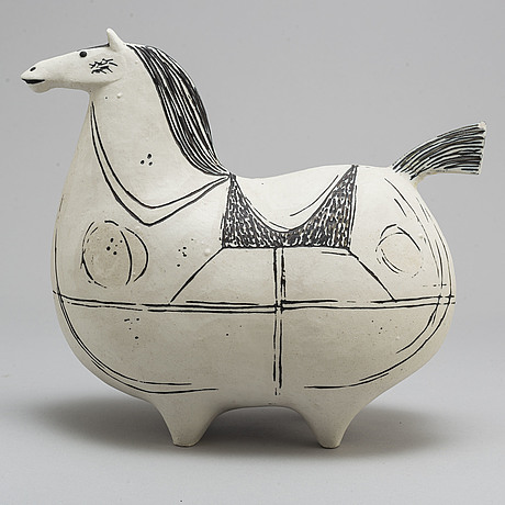 "Stig lindberg, a ""springare"" stoneware sculpture of a horse, gustavsberg studio, sweden 1952 72"