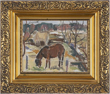 Stina sunesson, oil on canvas, signed and dated 1956.