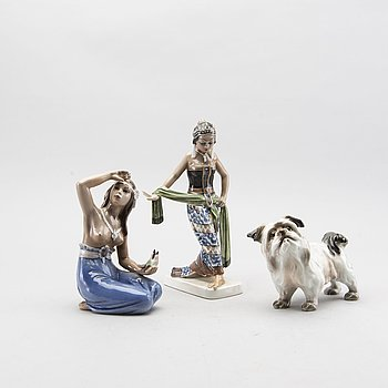 Three danish Dahl Jensen porcelain figurines.