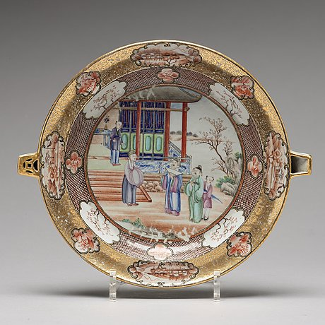 "A set of three ""rockefeller pattern"" hot water dishes, qing dynasty, qianlong (1736-95)."